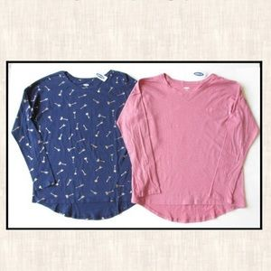 New Old Navy XL 14 Navy Blue Gold Arrow Pink Shirt